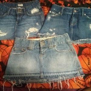 3 Jean skirts size 0 & 1